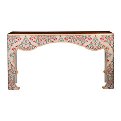 Kathy Kuo Home - Jana French Global Bazaar Cherry Wood Painted Floral Console Table - Bring the garden party indoors with this elegant, Eastern-influenced console table. Hand-painted details of blue and red accent the ivory-finished cherry and mahogany piece. Eye-catching designs dance around this table that brings a festive feel to your home. A small drawer is neatly camouflaged in the center of this rectangular artwork.