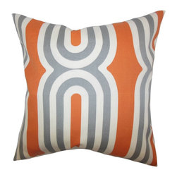 """The Pillow Collection - Persis Geometric Pillow Orange 18"""" x 18"""" - Spice up your space with this fun and retro-looking throw pillow. This accent piece features a dimensional pattern with a combination of orange, white and gray. This indoor pillow will perk up your sofa, bed or seat with its lovely design. This square pillow is made of 100% high-quality material and crafted in the USA."""