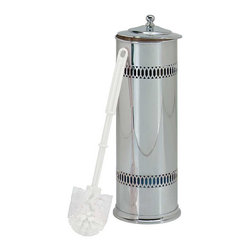 Renovators Supply - Toilet Brush Holders Bright Chrome | 98181 - No more soggy toilet brushes. Ventilated brush holder has great style too! A great way to hide that brush. Will also hold up to 3 rolls of toilet tissue. Holder, toilet brush and stainless steel bowl included. Polished and lacquered with a chrome finish. 5 inch diameter. 15 inch high.