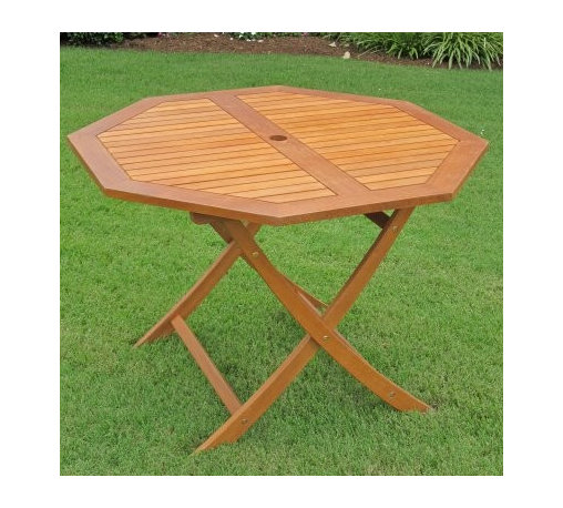 Royal Tahiti 44 in. Octagonal Patio Table - The Royal Tahiti 44 in. Octagonal Patio Table, made from sustainable yellow balau hardwood, is both functional and stylish. Finished in light teak oil, the table is weatherproof and fade-proof to last years and years. Dimensions: 44L x 44W x 30H inches.
