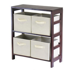 Winsome - Capri 2-Section M Storage Shelf with 4 Baskets - Espresso/Beige - This storage shelf comes with 4 foldable beige fabric baskets. Espresso finish storage shelf is perfect for any room in your home. Use it alone as book shelf or with baskets for a complete storage function. Assembly required for shelf.