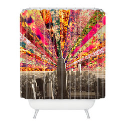 DENY Designs - Bianca Green Blooming Ny Shower Curtain - Who says bathrooms can't be fun? To get the most bang for your buck, start with an artistic, inventive shower curtain. We've got endless options that will really make your bathroom pop. Heck, your guests may start spending a little extra time in there because of it!
