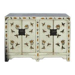 Golden Lotus - Chinese Oriental Off White Butterflies Side Table Cabinet - This is an oriental side table with off white color and matte golden color butterflies graphic on the front as accent.