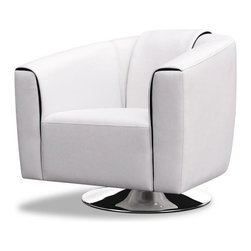 Modern White Leather Lounge Chair Lewis - Lounge Chair Lewis is upholstered in a soft top quality Italian leather.
