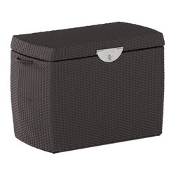 Domus Ventures - Domus Ventures Ipanema Cushion Box - 680110/201243A - Shop for Cushions and Pads from Hayneedle.com! Domus Ventures Ipanema Cushion Deck Box is made of high density polyethylene with an aluminum powder-coated frame. The interior holds a waterproof zippered polybag with PU coating to house and protect your deck cushions. PVC underlay on the top cover and PVC plates with holes on the bottom of the box. The bag with lining drops to the bottom to make sure all the cushions inside are completely protected. Available in 2 wicker finish colors and 3 size options. Top has a hinged lid with latch. Side handle for easy mobility. Available in small medium and large sizes. Should you purchase multiple sizes they will nest inside each other. Size dimensions: Small: 35L x 18W x 24H inches product weight: 40 lbs. Medium: 48L x 25W x 30H inches product weight: 47 lbs. Large: 61L x 31W x 39H inches product weight: 70 lbs. About Domus Ventures Pte. Ltd.Established in 1997 Domus Ventures is a German-owned manufacturer that has grown into a dominant global player in the furniture industry. Exporting over 1 600 containers annually each design and each piece is subjected to the highest level of scrutiny ensuring the company's commitment to excellence. Often using materials such as teak natural wicker loom paper fiber and resin wicker Domus Ventures is always exploring and testing new materials to find beautiful and sustainable high-quality designs while striving to produce unique modern and contemporary furniture that creates the perfect setting for your home and lifestyle whatever your taste budget or needs might be. Despite their growth into a company that employs over 2 200 factory and office staff in China Indonesia Singapore Germany and the United States Domus Ventures prides itself not just on its products but also on its ethical production which includes decent worker benefits and compensation as well as ecofriendly green initiatives.