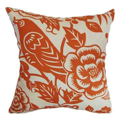 The Pillow Collection - Campeche Orange 18 x 18 Floral Throw Pillow - - Pillows have hidden zippers for easy removal and cleaning  - Reversible pillow with same fabric on both sides  - Comes standard with a 5/95 feather blend pillow insert  - All four sides have a clean knife-edge finish  - Pillow insert is 19 x 19 to ensure a tight and generous fit  - Cover and insert made in the USA  - Spot clean and Dry cleaning recommended  - Fill Material: 5/95 down feather blend The Pillow Collection - P18-D-20874-TANGERINE-C100