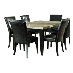 Steve Silver Furniture - Steve Silver Monarch 7 Piece Marble Top Dining Room Set - The Monarch Marble-Top Dining Table provides a classy refined look to any dining room. Offered in a deep black finish with a contrasting off-white marble top, this stylish set will complete any kitchen/dining room.