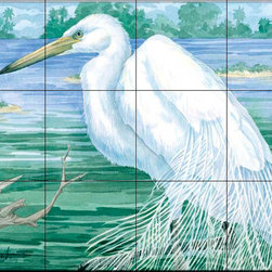 The Tile Mural Store (USA) - Tile Mural - American Egret - Kitchen Backsplash Ideas - This beautiful artwork by Paul Brent has been digitally reproduced for tiles and depicts a American Egret.  Images of waterfowl on tiles are great to use as a part of your kitchen backsplash tile project or your tub and shower surround bathroom tile project. Pictures of egrets on tile, images of herons on tile and decorative tiles with ducks and geese make a great kitchen backsplash idea and are excellent to use in the bathroom too for your shower tile project. Consider a tile mural of water fowl for any room in your home where you want to add interesting wall tile.