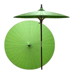 Oriental Unlimted - 7 ft. Tall Melon Patio Umbrella (None) - Choose Base: NoneHandcrafted and hand-painted by master artisans. 100% Waterproof and extremely durable. Umbrella shade can be set at 2 different heights, 1 for maximum shade coverage and the other for a better view of the shade. An optional base, which secures the umbrella rod and shade against strong winds and rain. Patio umbrella rod and base is constructed of stained oak hardwood for a rich look and durable design. Umbrella shade is made of oil-treated cotton. Minimal assembly required. Canopy: 76 in. D x 84 in. HEternity, family, harmony, peace and health are all related to the color Green in Asian lore. Place this lovely Green patio umbrella anywhere in your yard or outdoor area to create a feeling of tranquility and serenity.