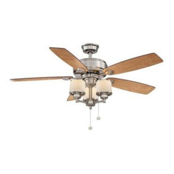Unbranded - Indoor Ceiling Fans: Unbranded Waterton II 52 in. Brushed Nickel Ceiling Fan AG5 - Shop for Lighting & Fans at The Home Depot. The Hampton Bay Waterton 52 in. Ceiling fan in brushed nickel has a transitional design and includes 5 reversible blades in cherry/ maple that will help compliment the furniture in your room. Includes a 3-light kit that has drum style frosted glass globes. The large 172mm x 14mm motor offers superior air movement and is backed by a lifetime motor warranty.