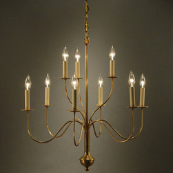 """Southampton Chandelier - Highend Lighting - Southampton Chandelier in antique brass, 9 lights, one and a half tiers.  Size:27""""W x 28""""H.  Available in other finishes."""