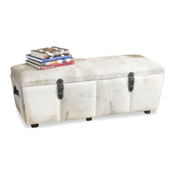 Kathy Kuo Home - Moro Modern Hollywood Cowhide Wood Double Wide Trunk - The striking modern look of this gorgeous cowhide trunk is further complemented by the ample storage space inside, which is conveniently divided into two sections to keep you organized.  With luxurious finishes inside and out, you'll be tempted to sit and run your hands over the soft tactile grey hide - and why not? Its cushioned top is meant to invite a stop and chat. Place in the entryway of your contemporary home or use as a textural coffee table in your industrial loft.