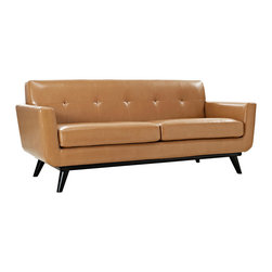 LexMod - Engage Bonded Leather Loveseat in Tan - Gently sloping curves and large dual cushions create a favorite lounging spot. Whether plopping down after a long day at work, settling in with coffee and brunch, or entering a spirited discussion with friends, the Engage loveseat is a welcome presence in your home. Five buttons create eye catching appeal; adding depth that brings your sitting decor to center stage. Four cherry color rubber wood legs and frame supply a solid base to the comfortable quality leather.