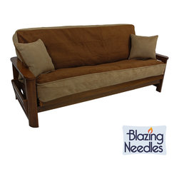 Blazing Needles - Foam-backed Microsuede 3-piece Futon Cover Set - This microsuede futon cover set comes with a cover that will fit nearly any futon and two matching pillows,all in your choice of six different colors/combinations. This foam-backed cover will provide comfort and style to any type of futon.