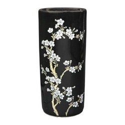 "Oriental Furniture - 18"" Flower Blossom Umbrella Stand - This stunning porcelain umbrella stand is decorated with off-white plum blossoms and finished with a high gloss black glaze. The design is both subtle and exotic, perfect for introducing a touch of the Far East into any style of home decor."