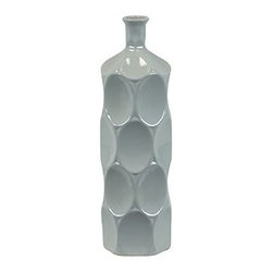"Benzara - Ceramic Bottle With Circular Embedded Design Body in Gray (Small) - A multiversatile decor item that will enhance and accentuate your interior decor, the Unique Ceramic Bottle With Thin Mouth and Circular Embedded Design Body in Gray (Small) features a lovely slim mouth and a stylish circular embedded design on its body. This ceramic bottle can be used as a standalone decor item or be paired with flowers to decorate and add color to your mantle place, desk or table. The dimensions of the Unique Ceramic Bottle With Thin Mouth and Circular Embedded Design Body in Gray (Small) are 4""x14""H. Ceramic; Gray; 4""x14""H; Dimensions: 0""L x 4""W x 14""H"