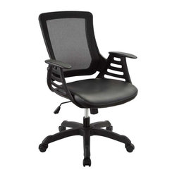 Modway - Veer Office Chair in Black - Chart new territory while seated from the comfort of the Veer Chair.Veer features a form-fitted breathable mesh back and padded waterfall vinyl seat to keep your back and thighs posture perfect. Securely lock your back in place with a user friendly seat tilt plus tension control knob--perfect for adjusting the chair to correctly fit your body weight.Adjust the seat height with a one-touch pneumatic lift with hooded dual-wheel casters to ensure effortless gliding over carpeted offices.Veer is a chair built for the progressive worker. Make yourself stand out as you venture forth from a place of naturally efficacious activities.