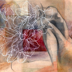 """Figurative mixed media painting III"" Artwork - An abstract mixed media drawing and painting of the figure with floral. This piece has several layers of drawings which give it a richness and depth. Shape, form and structure with calm and subtly powerful colors.  This is a signed original fine art mixed media painting by Washington state artist Kathleen Ney. The paper size is 14"" x 17"",  on archival substantial Canson bristol paper. The last photo shows it in a standard frame and mat. Will be shipped unframed in rigid cardboard packaging.  Please note: Colors may vary slightly due to photography and difference in monitors.  The copyright watermark shown here is not a part of the original art or prints. Purchase of original art does not transfer reproduction rights."