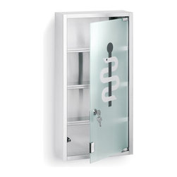 Blomus - Nexio Stainless Steel Medicine Cabinet w Keys - Comes with 2 keys. 4 Shelves. Locking glass door. Made of stainless steel, matte finish. Contemporary style. 1-Year manufacturer's defect warranty. 11.85 in. L x 4.74 in. W x 23.7 in. H