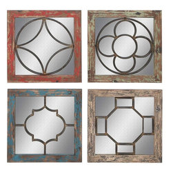 Benzara - Mirror in Rustic Finish - Set of 4 - This assorted set of wood mirror wall panel offers a distinctive appeal to your living space. These wall panels in a mixed set of four are designer, cute, and attractive. You can place them anywhere you desire as they occupy less space but fill your decor with a visual charm. Made from the finest quality wood, these panes boast of strength and durability. The mirror fitted in between is of the supreme quality with intricate design in the middle to lend it an elite touch. Available in four striking colors of red, green, blue and brown brushed in a dull finish, these wall mirror panels ensure an appealing look on any color interior backdrop.
