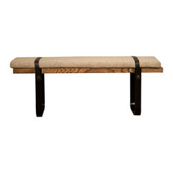 Santa Fe Dining Bench - This Dining Bench combines clean lines with retro touches to create a look contemporary yet rustic. The bold and sweeping silhouette is made with a rich veneered elm along with a substantial black iron base and top detailing.