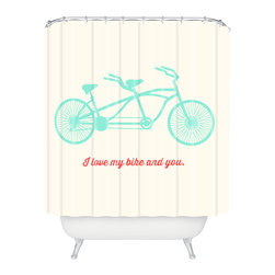 DENY Designs - Allyson Johnson My Bike And You Shower Curtain - Who says bathrooms can't be fun? To get the most bang for your buck, start with an artistic, inventive shower curtain. We've got endless options that will really make your bathroom pop. Heck, your guests may start spending a little extra time in there because of it!