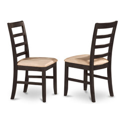 """East West Furniture - Parfait Chair with Cushion Seat in Black and Cherry Finish - Set of 2 - Parfait Chair with Cushion Seat - Black and Cherry Finish; Parfait dinette sets offer a traditional look with table & chairs that are right at home in either a working kitchen or formal dining room.; Warm Black & Cherry wood tones.; Chairs have a smooth sleek finish with beveled edges.; Chairs have ladder-back styling with upholstered and padded microfiber seats.; Weight: 37 lbs; Dimensions: 18""""L x 18""""W x 38""""H"""