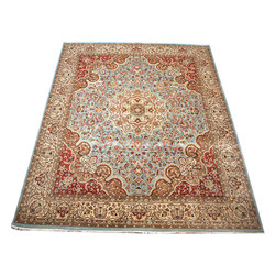 "ALRUG - Handmade Grey Persian Kashan Rug 8' 1"" x 10' 2"" (ft) - This Pakistani Kashan design rug is hand-knotted with Wool on Cotton."