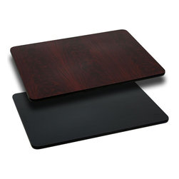"""Flash Furniture - 30'' x 60'' Rectangular Table Top with Black or Mahogany Reversible Laminate Top - Complete your restaurant, break room or cafeteria with this reversible table top. The reversible laminate top features two different laminate finishes. This table top is designed for commercial use so you will be assured it will withstand the daily rigors in the hospitality industry.; Reversible Restaurant Table; 1.125"""" Thick Round Table Top; Bi-Color Laminate Top; Black On One Side, Mahogany on the Other; High Impact Melamine Core; Black T-Mold Protective Edging; Designed for Commercial Use; Available In 6 Sizes: 24"""" x 30"""" to 30"""" x 60""""; Assembly Required: Yes; Country of Origin: China; Warranty: 2 Years; Weight: 52 lbs.; Dimensions: x 30""""W x 60""""D"""