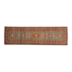 1800-Get-A-Rug - 100 Percent Wool Sky Blue Kazakh Runner Hand Knotted Oriental Rug Sh18256 - Our Tribal & Geometric hand knotted rug collection, consists of classic rugs woven with geometric patterns based on traditional tribal motifs. You will find Kazak rugs and flat-woven Kilims with centuries-old classic Turkish, Persian, Caucasian and Armenian patterns. The collection also includes the antique, finely-woven Serapi Heriz, the Mamluk Afghan, and the traditional village Persian rug.