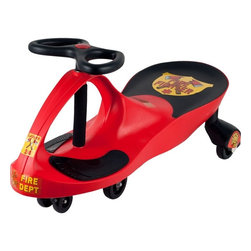 Lil Rider - Firefighter Wiggle Ride-on Car - High-quality plastics . Rugged and durable . Extra decals included . Deceptively simple to operate . No pedals . No gears . No batteries required . Measures: 30 in. L x 13.5 in. W x 16 in. HLooking for a children's toy that will delight, fascinate, and invigorate for years to come? Come to the rescue with the perfect toy: The revolutionary new Lil' Rider Wiggle car. It's like magic, but you don't need to be a magician to get it to work. The Lil' Rider Wiggle car is a mechanical marvel that makes use of that most inexhaustible of energy sources, kid-power, by harnessing the natural forces of inertia, centrifugal force, gravity, and friction. It's so easy to operate; all it needs is a driver and a smooth, flat surface. It doesn't require an expensive power source that needs constant replacement. No batteries, no power-cells, no liquid fuel-just the occasional cookie or two. It's quiet too-the only sound you'll hear is the sound of its wheels. It provides kids with plenty of exercise, more so than most toys. And the Lil' Rider Wiggle car is engineered to be absolutely safe when used appropriately.
