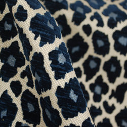 Micro - Simba Navy Blue Chenille Upholstery Fabric By The Yard - Blue leopard  chenille upholstery fabric pattern Simba Navy. Gorgeous design and very heavy and durable upholstery fabric. Cover an ottoman, pillows, a cornice board or a headboard. Add a punch of style and color with this blue leopard fabric.