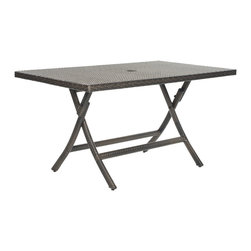 Safavieh - Safavieh Outdoor Living Brown PE Wicker Rectangle Folding Table - Made from PE wicker, this rectangle folding table brings a resort-like ambiance outdoor living to any home. This table is great as a main dining table on any patio or deck and easily folds flat for storage