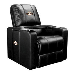 Dreamseat Inc. - San Francisco Giants MLB Home Theater Plus Leather Recliner - Check out this Awesome Leather Recliner. Quite simply, it's one of the coolest things we've ever seen. This is unbelievably comfortable - once you're in it, you won't want to get up. Features a zip-in-zip-out logo panel embroidered with 70,000 stitches. Converts from a solid color to custom-logo furniture in seconds - perfect for a shared or multi-purpose room. Root for several teams? Simply swap the panels out when the seasons change. This is a true statement piece that is perfect for your Man Cave, Game Room, basement or garage. It combines contemporary design with the ultimate comfort from a fully reclining frame with lumbar and full leg support.