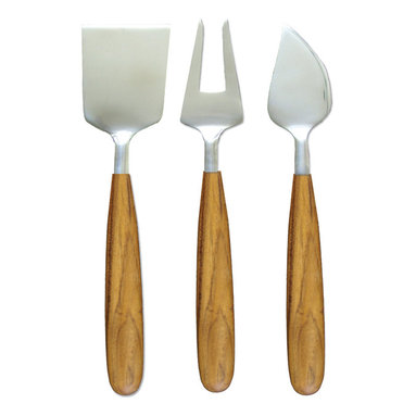 Be Home - 3 Piece Teak Cheese Set - Impress guests at your next party with this three-piece cheese set, made of teak and stainless steel. Everyone will love the bold design — and the fact that the wood is reclaimed from excess material that the logging industry leaves behind.
