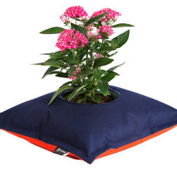Fiorina Flowers Pillow, Navy Blue/Orange - This modern planter can do more than just sit on your tabletop. The Fiorina Flowers Pillow by Greenbo can be set comfortably anywhere you have the space, even your pool! This garden container comes with a removable cup for easy planting and the recycled material makes cleaning a breeze.