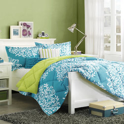 ID-Intelligent Designs - Intelligent Design Monaco Polyester 5-piece Comforter Set - The Monaco collection provides comfort and color. The softspun fabrication gives an incredibly soft hand feel while the bright teal color features a white leaf design.