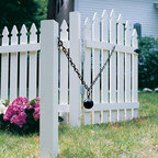 """Renovators Supply - Gate Latches Cast Iron Cannonball & 5 Feet Chain Gate Latch - Once installed, the old-fashioned """"sentry"""" stands guard, making sure the gate always closes behind you.  It has a 3"""" cast iron cannonball with 5 feet of chain.  It is intended for use on the inside of gate that opens outwardly for gate width up to 4 feet.  Low luster black polyester powder coat over a hot dipped galvanized finish.  This ensures a much more enduring rust resistant finish."""
