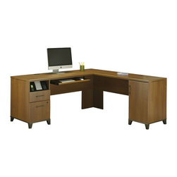 "Bush - Bush Achieve 70"" L-Shape Computer Desk in Warm Oak - Bush - Computer Desks - PR67310K -The Achieve Collection L-shaped Computer Desk offers modern flair for your home or business office. The desk features a single file drawer, plus a box drawer for office supplies and a keyboard shelf to keep your desk surface uncluttered. Advanced wire management system keeps cords and cables hidden. Offered in Warm Oak finish. Pull hardware is oil rubbed bronze."