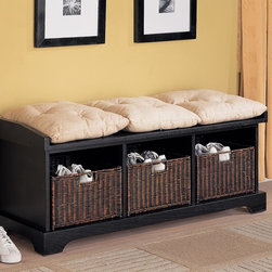 Coaster - White Transitional Bench - Complete with baskets and cushions, this storage bench in black is perfect for any entry way.