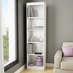South Shore Axess Collection 5-Shelf Narrow Bookcase - Pure White - The South Shore Axess Collection 5-Shelf Narrow Bookcase - Pure White is perfect for storing a lot of books without taking up too much real estate. A great choice for smaller spaces, this bookcase has five levels of open space and three adjustable shelves to accommodate any size item. It's constructed of durable laminate and has a pure white finish. About South Shore FurnitureA recognized leader in North American furniture manufacture, South Shore Industries was established in 1940 and has been making furniture for three generations. Employing a team of over 1,000 employees in three factories in Quebec, their assembled and ready-to-assemble furniture has a reputation for quality and excellence at affordable prices for today's family.