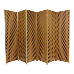 Oriental Furniture - 6 ft. Tall Woven Fiber Room Divider - Two Tone Brown - 6 Panel - A hand crafted decorative floor screen with a brown and tan checkerboard design. Crafted with lightweight wood frames and reinforced by the interwoven light and dark brown plant fiber. Tight weave allows little light to pass through. Warm earth tones enable this screen to compliment many interior design schemes. Use as a room divider, decorative accent or to block off a window, doorway or work area.