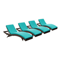 "LexMod - Peer Chaise Outdoor Patio Set of 4 in Brown Turquoise - Peer Chaise Outdoor Patio Set of 4 in Brown Turquoise - Dont let moments of relaxation elude you. Peer is a serenely pleasant piece comprised of all-weather cushions and a rattan base. Perfect for use by pools and patio areas, chart the waters of your imagination as you recline either for a nap, good read, or simple breaths of fresh air. Moments of personal discovery await with this chaise lounge that has fold away legs for easy storage or stackability with other Peer lounges. Set Includes: Four - Peer Outdoor Wicker Chaise Modern Outdoor Chaise Lounge, Synthetic Rattan Weave, Machine Washable Cushion Covers, Powder Coated Aluminum Frame, Water & UV Resistant Overall Product Dimensions: 78""L x 27.5""W x 48.5""H Daybed Dimensions: 78""L x 27.5""W x 33""H Seat Height: 15.5""HBACKrest Height: 33""H - Mid Century Modern Furniture."