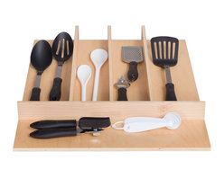 """Century Components - Century Components TTUT18PF Wood Utensil Tray Drawer Organizer, 18"""" x 22"""" - Utensil Tray Organizer - 18""""W x 22""""D x 2-3/8""""H. This unit is designed to be trimmable to desired width and depth to fit the drawer size and design in your kitchen. Century Components TTUT18PF is made from solid maple wood with a clear natural finish for great appearance, quality and durability. Each compartment is 3-1/2"""" or wider and stepped down from one section to the next."""
