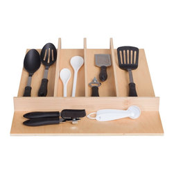 "Century Components - Century Components TTUT18PF Wood Utensil Tray Drawer Organizer, 18"" x 22"" - Utensil Tray Organizer - 18""W x 22""D x 2-3/8""H. This unit is designed to be trimmable to desired width and depth to fit the drawer size and design in your kitchen. Century Components TTUT18PF is made from solid maple wood with a clear natural finish for great appearance, quality and durability. Each compartment is 3-1/2"" or wider and stepped down from one section to the next."