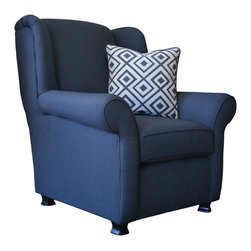 WingBack - Centre County Seat - Centre County Seat will provide a comfy traditional resting spot to your home.  A multipurpose cotton polyester blend fabric from J Ennis fabric collection Caravan was used with the Zingara pattern in the Steel Blue color.  Matching accent pillows and throw also available.