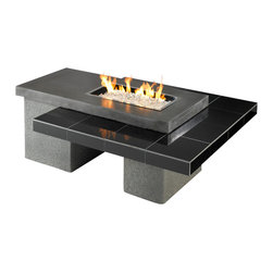Outdoor Greatroom - Outdoor Greatroom Uptown Fire Pit with 24x12 Burner, Black - A modern look in granite and stucco, the Uptown outdoor gas fire pit table is designed with clean, simple lines, and engineered to showcase a stunning glowing fire that is sure to heat up your outdoor space - perfect for entertaining family and friends. The two-tier table design features a 12 x 24 inch rectangular stainless steel Crystal Fire burner is rated for 56,000 BTU, that will truly light up the night and add warmth to your outdoor space. This burner is made from high quality stainless steel and includes tempered, tumbled Diamond-colored glass, an LP hose and regulator, a metal flex hose, a gas valve, and a push button igniter. With just a push of a button, a beautiful clean-burning fire appears atop a bed of highly reflective Diamond glass fire gems, simply adjust the flame height to your desired setting and enjoy the magic and ambience of a warm glowing fire. UL Listed to guarantee safety and quality. 1 Year Warranty. Optional accessories include: Vinyl Cover (CVRUPT) Bronze / Grey Glass Burner Cover (1224-BRONZE-GLASS-COVER; 1224-GREY-GLASS-COVER); Glass Guard (GLASS-GUARD-1224); Log Set (CF20-LOG-SET).
