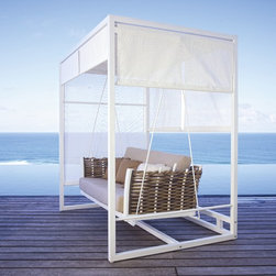 Olivia Swinging Daybed from Skyline Design - The Olivia Outdoor Swinging Daybed features a unique and elegant design, indicative of the innovation and quality that has made Skyline Design the leader in luxury outdoor furniture.  Integrating the finest synthetic weaving materials with strong aluminum frames, Skyline Design creates furniture that is as beautiful as it is durable.  Utilizing revolutionary high-density polyethylene weaving material, Skyline Design furniture is high-tensile strength, chemical and UV resistant, all-weather proof furniture that is safe for the environment and 100% recyclable.