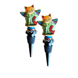 Golden Hill Studio - Metal Cat Stopper Set of 2 - Nothing is as purrfect as this adorable bottle stopper for keeping your wine from oxidizing. The colorful cat perched on top seems content as it keeps a watchful eye on your chardonnay.