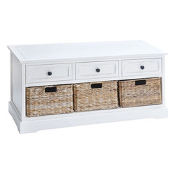 Benzara - Unique Wood Basket Cabinet Crafted with Fine Detailing - Beautify the decor by keeping it clutter free with this wood basket cabinet. Modish in style, this cabinet blends well with any kind of decor and setting. It is fully functional and helps you tuck away all unwanted magazines and supplies instantly. Rectangular in shape, this cabinet flaunts three wooden drawers and three basket drawers. Smeared in white, this cabinet is crafted with fine detailing. You can place this cabinet in the living space, dining area, and bedroom or in the study to arrange your things properly. Moreover, you can use this cabinet in the office to store your magazines and unwanted supplies. The storage options broaden with this cabinet in the house. Flawlessly chiseled from high quality wood, this cabinet is study and robust in make. It is also a wonderful gift for your beloved on special occasion.
